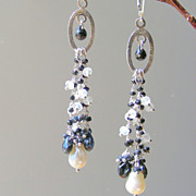 SALE Moonstone, Black Spinel, Baroque Pearl Long Fringe Earrings