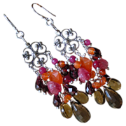 SALE Garnet, Carnelian, Smoky Quartz, Agate, and Onyx Chandelier Earrings