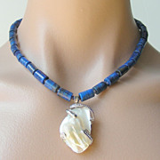 SALE Clearance - Lapis Lazuli, Iolite, Baroque Pearl Pendant Necklace