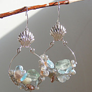 SOLD Labradorite, Blue Topaz, Andalusite, and Aquamarine Wire Wrapped Sea Shell Hoop Earrings