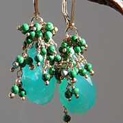 SOLD Peruvian Opal and Malachite Earrings