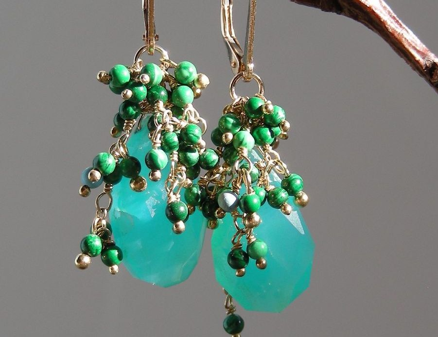 Peruvian Opal and Malachite Earrings