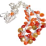 SALE Tangerine Orange Carnelian and Chalcedony Waterfall  Necklace