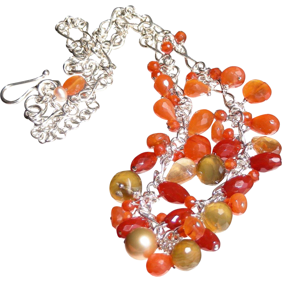 Tangerine Orange Carnelian and Chalcedony Waterfall  Necklace