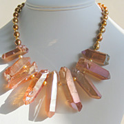 SALE Rock Crystal Spikes and Golden Pearls Contemporary  Necklace