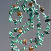 "SALE Chrysocolla, Apatite, and Bronze Coin Pearl  33""  Long  Hand Knotted Necklace"