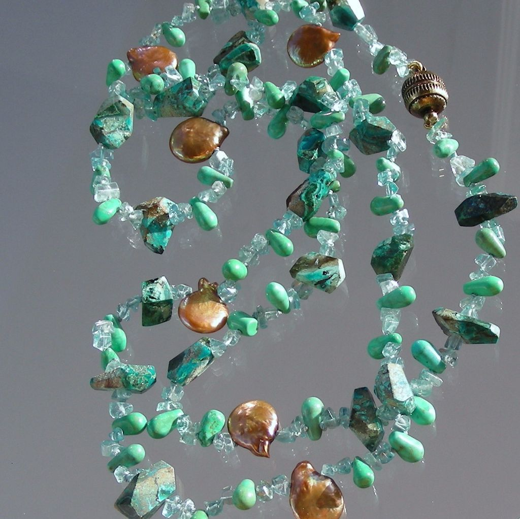 "Chrysocolla, Apatite, and Bronze Coin Pearl  33""  Long  Hand Knotted Necklace"