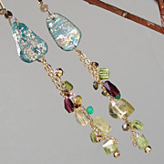 SOLD Roman Glass, Tourmaline, Garnet, Peridot, and Lemon Quartz Long Earrings