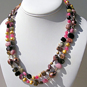"SALE Tourmaline and Chocolate Baroque Pearls 41"" Long Hand Knotted Necklace"