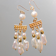 SOLD Biwa Pearl Fantasy in White Medieval Style Chandelier Earrings