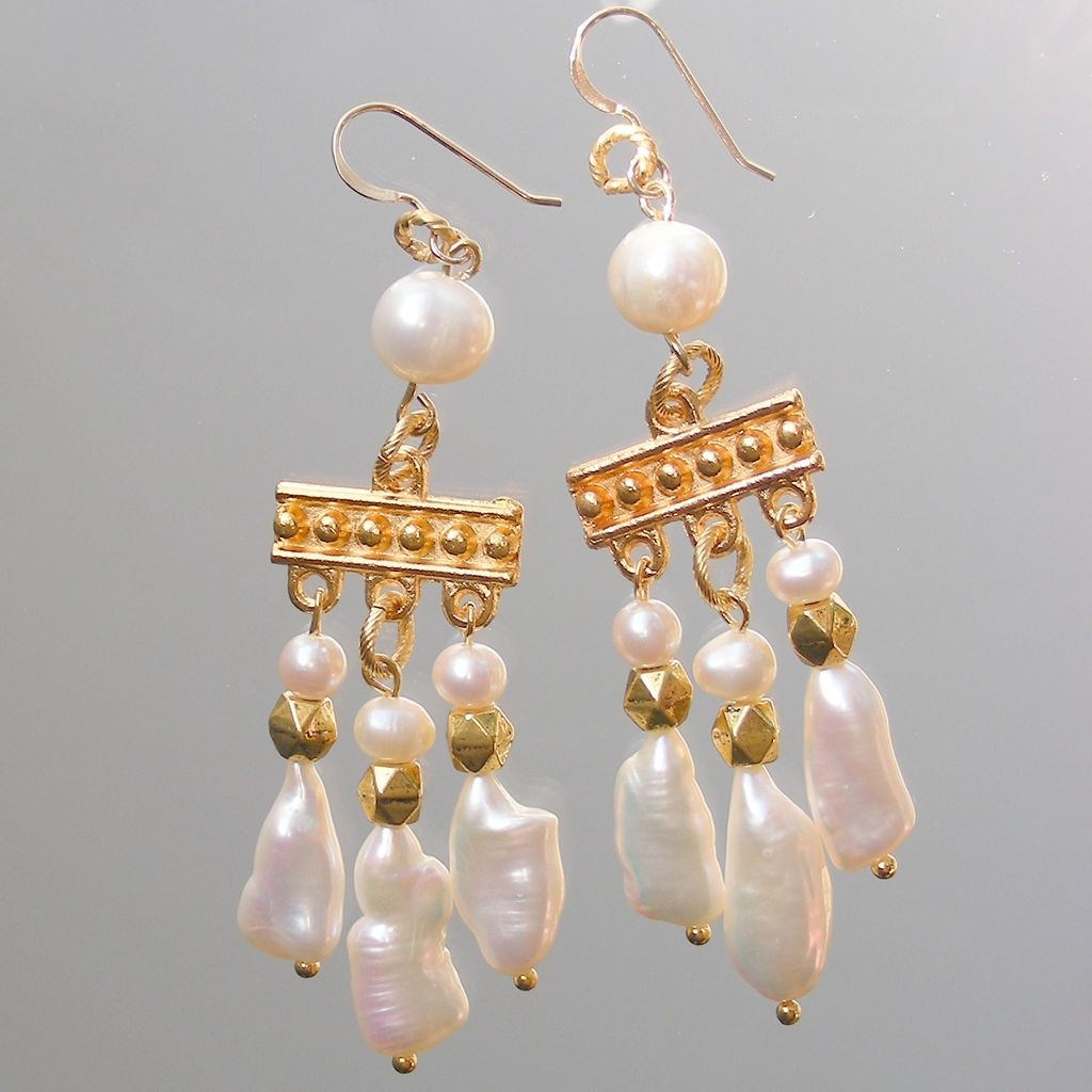 Biwa Pearl Fantasy in White Medieval Style Chandelier Earrings