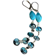 SALE London Blue Topaz and Turquoise Long Contemporary Earrings
