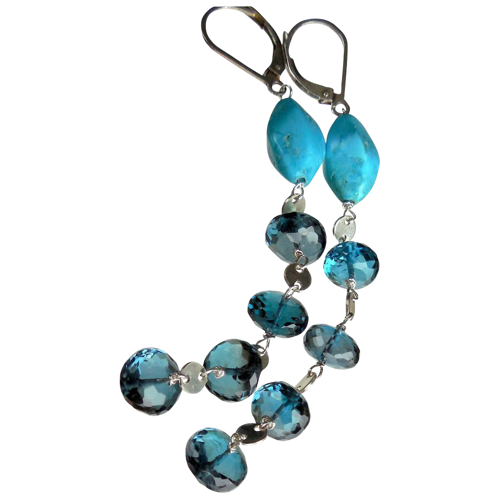 London Blue Topaz and Turquoise Long Contemporary Earrings