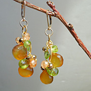 SALE RESERVED - Peridot, Citrine, Pyrite, and Honey Chalcedony Briolette Earrings