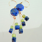 SOLD Lapis Lazuli and Peridot Eclectic Contemporary Earrings