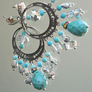 SOLD Turquoise Blue Magnesite and Silver Crystal Chandelier Post Earrings