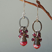 SALE Red Crystal Briolettes from Nepal and Oxblood Garnet Earrings
