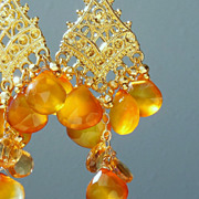 SOLD Citrine and Honey Gold Chalcedony Briolette Chandelier Earrings