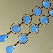 SALE Cobalt Blue Glass Gunmetal Hoop Drop Earrings