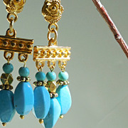 SOLD Turquoise Blue Magnesite Chandelier Earrings