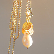 SALE Clearance- Italian Vermeil Long Chain &quot;30&quot; with Baroque pearl pendant