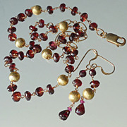 SOLD Garnet Necklace and Earring Set - Traditional Pyrope Red
