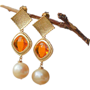 SALE Citrine Orange Gold Crystal Pendant Post Earrings with Peach Pearls