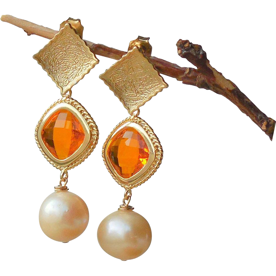 Citrine Orange Gold Crystal Pendant Post Earrings with Peach Pearls