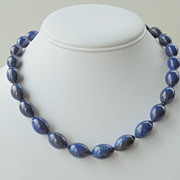 SALE Lapis Lazuli Gemstone Hand Knotted Sterling Silver Necklace
