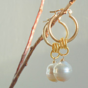 SOLD Baroque Pearl Classic Hoop Earrings