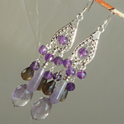 SALE Clearance - Amethyst, Ametrine, and Smoky Quartz Statement Chandelier Earrings