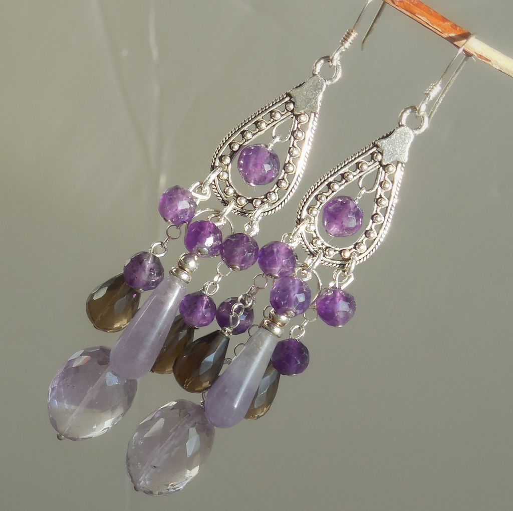 Clearance - Amethyst, Ametrine, and Smoky Quartz Statement Chandelier Earrings