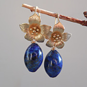 SOLD Lapis Lazuli Flower Drop Earrings
