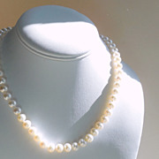 SALE Classic Cultured Pearls Hand Knotted Necklace