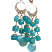 Russian Amazonite and Sea Foam Chalcedony Long Earrings