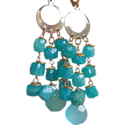 SALE Russian Amazonite and Sea Foam Chalcedony Long Earrings
