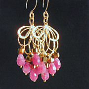 SOLD Cherry Red Agate Chandelier Earrings