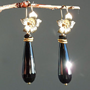 SOLD Black  Agate Briolette Flower  Drop Earrings