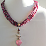 SOLD Garnet, Moonstone, and Biwa Pearl Necklace