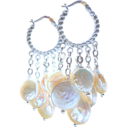 SALE Coin Pearl Chandelier Hoop Drop Earrings