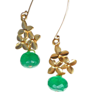 SALE Clearance - Emerald Green Onyx Flower Earrings
