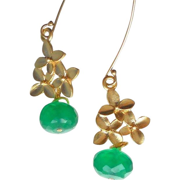 Clearance - Emerald Green Onyx Flower Earrings