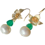 SALE Emerald Green Onyx and Freshwater Pearl Flower Drop Earrings