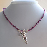 SOLD Garnet and Sterling Silver Angel Slide Pendant Necklace- Be My Valentine