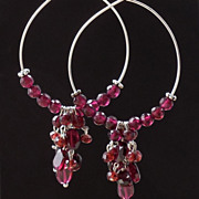 SOLD Garnet Hoop Sterling Silver Earrings - January's Oxblood Red Birthstone