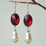 SOLD Oxblood Red and White Shell Pearl Statement Earrings