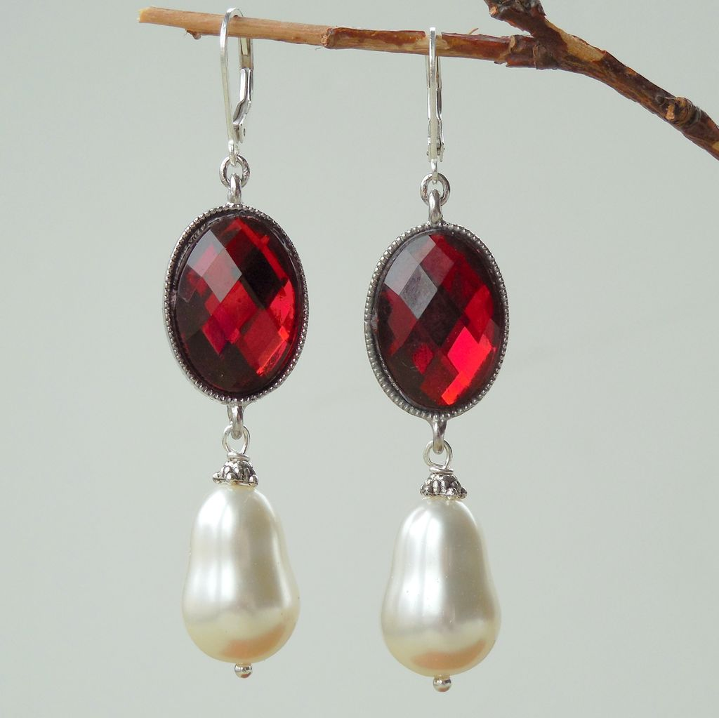 Oxblood Red and White Shell Pearl Statement Earrings