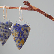 SALE Lapis Lazuli Hearts Sterling Silver Drop Earrings