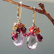 SOLD Garnet and Pink Amethyst Briolette Earrings