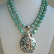 SOLD Tibetan Porcelain Bottle Horse on Hand Knotted Amazonite Necklace